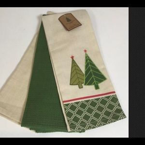 Embellished Kitchen Tea Towels Christmas Set 3 NWT
